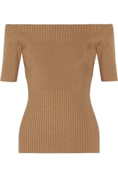 Jason Wu Off The Shoulder Ribbed Stretch Wool Blend Top Tan