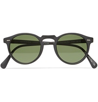 Oliver Peoples Gregory Peck Matte Acetate Round Frame Sunglasses Black