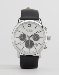 Sekonda Chronograph Black Leather Watch With Silver Dial Exclusive To Asos Black
