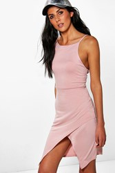 Boohoo Wrap Skirt Strappy Bodycon Dress Dusky Pink