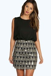 Boohoo Naya Sequin Chiffon Bodycon Dress Black