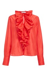 Tome Ruffle Collar Shirt Red