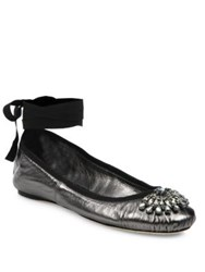 Jimmy Choo Grace Crystal Embellished Metallic Leather Ankle Wrap Ballet Flats Purple Tearose Navy Anthracite