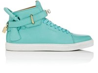 4586 Men's 100Mm Leather High Top Sneakers Turquoise
