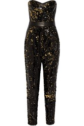 Milly Leather Trimmed Sequined Tulle Jumpsuit Black
