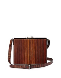 Bertoni Gemma Black And Wood Effect Leather Crossbody Bag