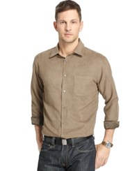 Van Heusen Faux Suede Long Sleeve Shirt Khaki