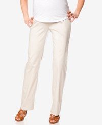 Motherhood Maternity Petite Straight Leg Sateen Pants Khaki