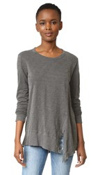 Wilt Slanted Seamed Tunic Tee Long Sleeve Black Distress