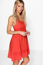 Boohoo Crochet And Lace Trim Skater Dress Rust