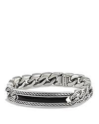 David Yurman Maritime Curb Link Id Bracelet With Black Onyx Black Silver