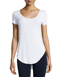 Dex Scoop Neck Shirttail Hem Tee White