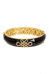 Freida Rothman 14K Gold Plated Sterling Silver Black Enamel Love Knot Rounded Hinge Bangle