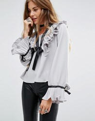 Navy London Long Sleeve Blouse With Ruffle Collar And Tie Neck Detial Grey