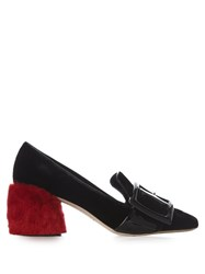 Miu Miu Fur Block Heel Velvet Loafers Black Red