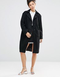 The Whitepepper Wool Boyfriend Coat Black