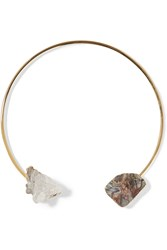 Dara Ettinger Gold Tone Agate And Quartz Necklace Metallic