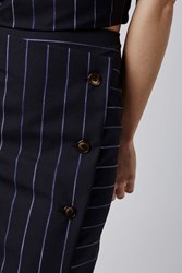 Midi Stripe Skirt By Boutique Navy Blue