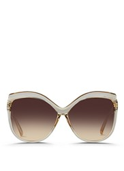 Linda Farrow Oversize Square Cat Eye Acetate Sunglasses Grey Brown
