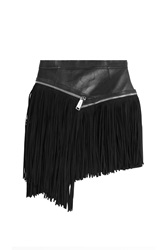 Dsquared2 Leather Mini Skirt With Suede Fringe Black