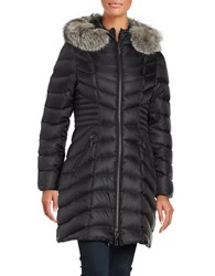 Dawn Levy Natural Fox Fur Trimmed Down Coat Black
