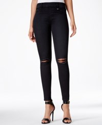 True Religion Ripped Dark Blue Wash Pull On Runway Leggings Smoking Mirrors