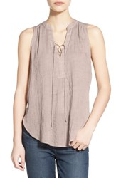 Women's Lush Lace Up Sleeveless Henley Top Ashes