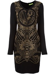 Versace Jeans Studded Fitted Mini Dress Black