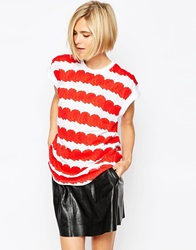 Eleven Paris Rose Striped Oversized T Shirt Red