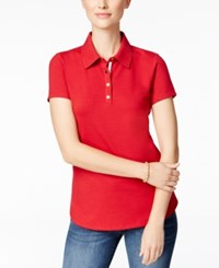 Charter Club Short Sleeve Polo Top Only At Macy's New Red Amore