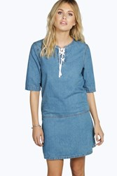 Boohoo Lace Up Front Tunic Denim Dress Blue
