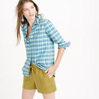 J.Crew Boy Shirt In Green And Blue Plaid