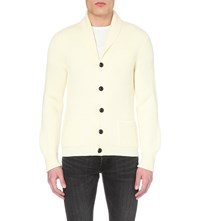 Tom Ford Shawl Collar Ribbed Wool Cardigan Cream