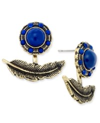 Macy's Gold Tone Feather Earring Jackets Blue