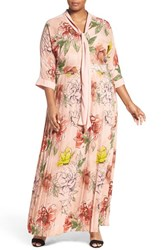 Melissa Mccarthy Seven7 Plus Size Women's Tie Neck Floral Print Maxi Dress