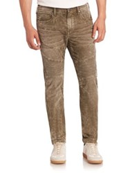 True Religion Rocco Moto Skinny Fit Jeans Cactus Olive