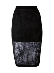 T By Alexander Wang Crinkle Knit Double Layer Skirt Black