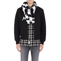 Rag And Bone Plaid Basket Weave Scarf Black Cream
