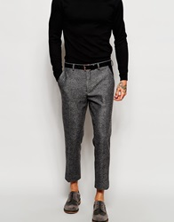 Asos Skinny Cropped Suit Trousers With Faux Leather Trim Grey