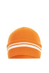 Topshop Sporty Stripe Beanie Orange