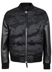 Valentino Camouflage Wool And Leather Bomber Jacket Black