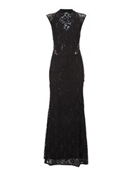 Jessica Wright Cap Sleeve V Neck Sequin Maxi Dress Black