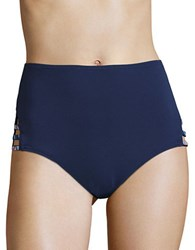 Vince Camuto Embroidered High Wasted Bikini Bottom Navy