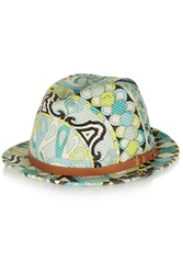 Emilio Pucci Leather Trimmed Printed Woven Rafia Hat Green