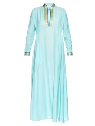 Thierry Colson Parvati Embroidered Cotton And Silk Blend Dress Light Blue