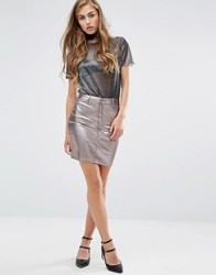 Miss Selfridge Metallic Denim Mini Skirt Silver