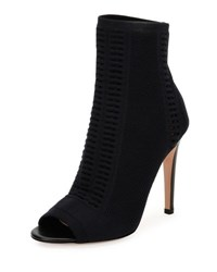 Gianvito Rossi Vires Knit Open Toe Bootie Black