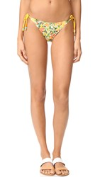 Stella Mccartney Iconic Prints Tie Side Bikini Bottoms Yellow Citrus Print