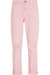 Current Elliott The Fling Distressed Mid Rise Boyfriend Jeans Pastel Pink