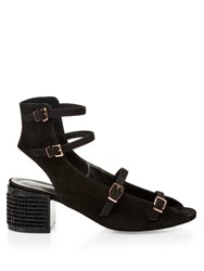 Robert Clergerie Elona Suede Block Heel Sandals Black